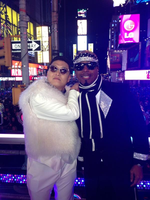 """happy new year from @psy_oppa and @MCHammer!"" - Psy"