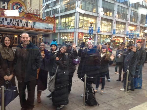 """Stacey Baca: """"Singers are lining up outside our State Street studio! Auditions for @WindyCityLIVE singing contest this morning!"""""""
